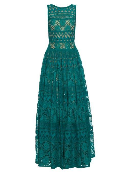 ELIE SAAB Lace Panelled Cotton-Blend Gown. #eliesaab #cloth #gown