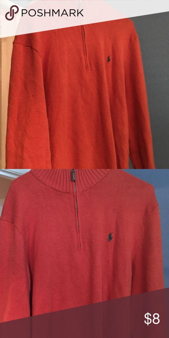 Polo Ralph Lauren sweater Orange polo 100% cotton exclusive decorative, used but good condition Ralph Lauren Sweaters Zip Up