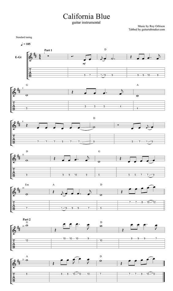 Roy Orbison - California Blue instrumental guitar TAB ...