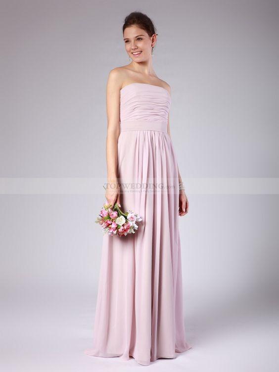 Strapless Column Chiffon Bridesmaid Dress with Ruchings 0114000