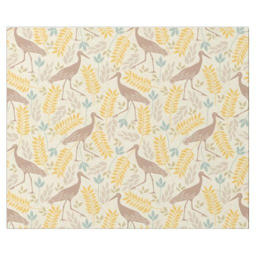 Yellow Blue Carmel Spring Floral and Crane Pattern Wrapping Paper