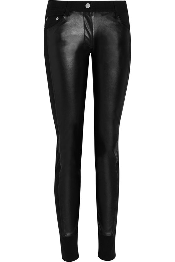 Karl Lagerfeld|Patricia faux leather-paneled jersey skinny pants