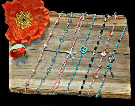 Lovely bead braclets, i saw these on etsy... https://www.etsy.com/listing/294996113/coral-turquoise-beaded-bracelets-shell