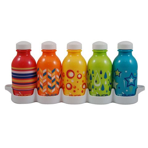 Need to buy these soon!! Only $15 for 5 of the kids size and 18 for adult size. reuseable water bottles. comes with fridge insert. love.