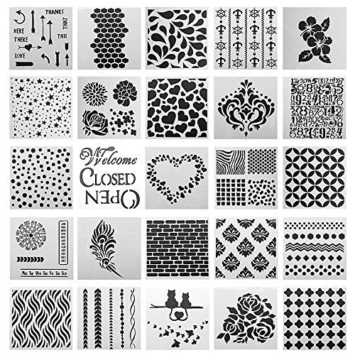 DIY Craft Hollow-out 3D Feather Wall Painting Stamp Stencil Drawing Template New