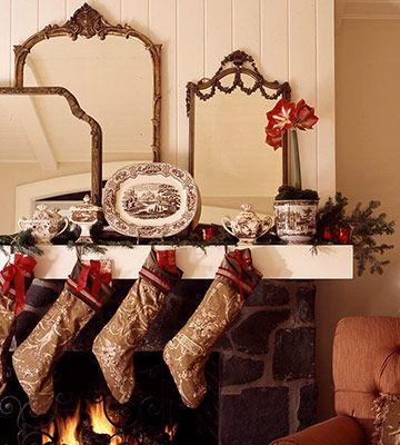 Holiday mantle display using vintage transferware
