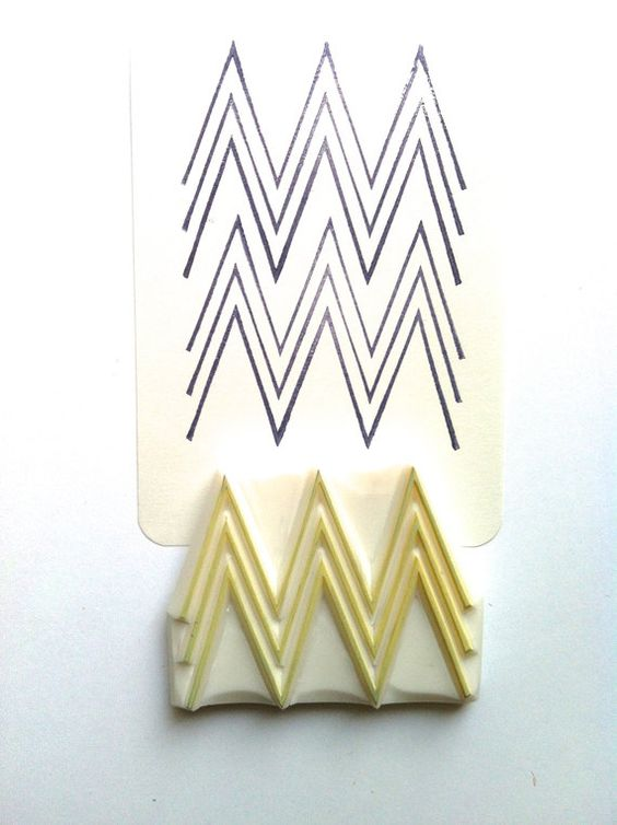 Geometric pattern stamp hand carved rubber chevron
