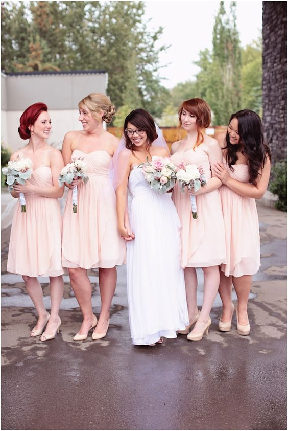 Katie In Claire La Faye Looking Adorable With Her Bridesmaids 2014 Sand Castle Winery Bridal