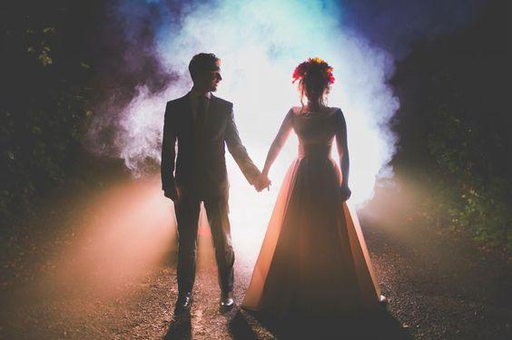 Alternative Night wedding photography smoke bombs. Fleming photo London creative photographer. Rock and roll wedding portraits