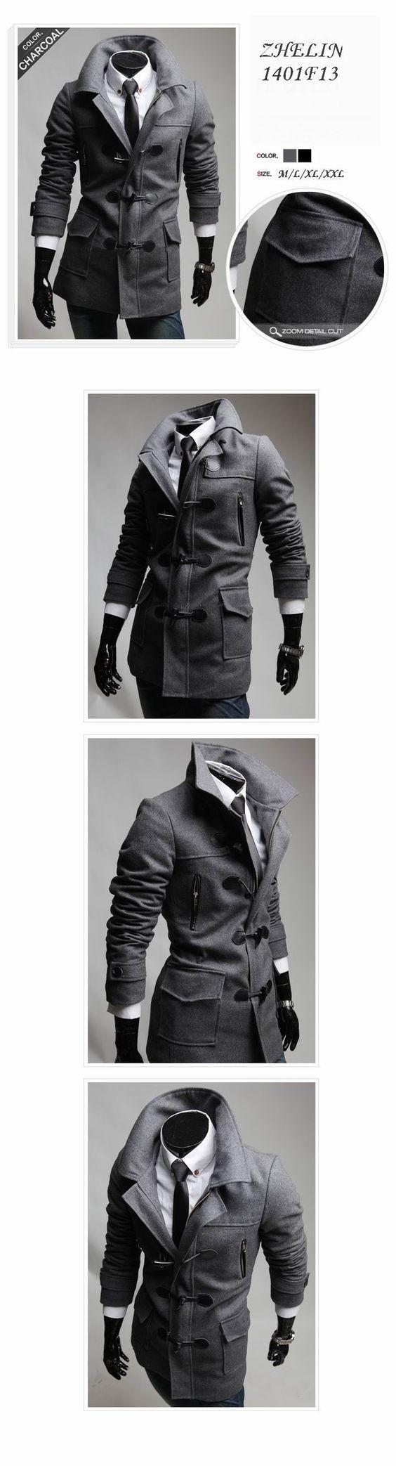 Moda Stylish Men casacos 2015 dos homens de lã masculino trincheira casacos de inverno casaco de lã botão da buzina casaco de lã casacos M XXL em Lã e Mesclas de Roupas e Acessórios Masculinos no AliExpress.com | Alibaba Group