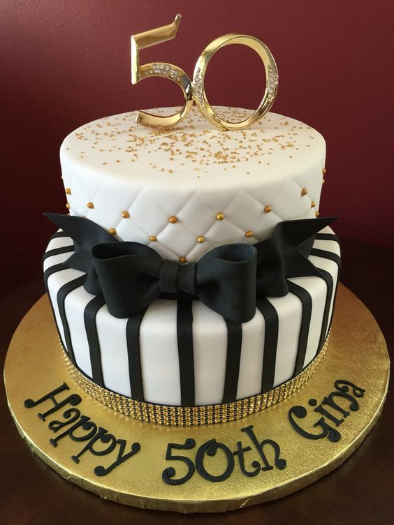 Black and gold 50th birthday cake birthday cakes pinterest 50th birthday cakes cakes and - Th anniversary cake decorations ...
