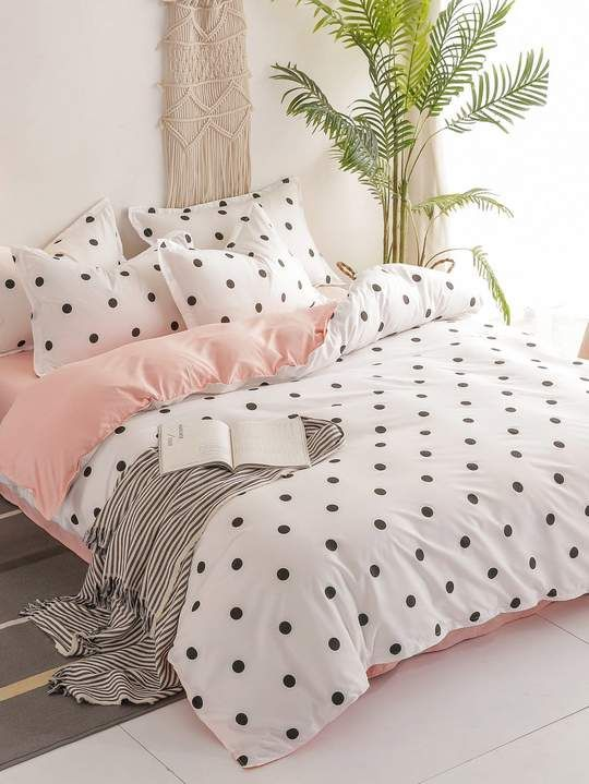 Composition 100 Polyester Pattern Type Polka Dot Style Modern Type Sheet Sets Duvet Cover Size 1 0m 150 200 Cm Cute Bed Sheets Cute Bed Sets Bed Decor