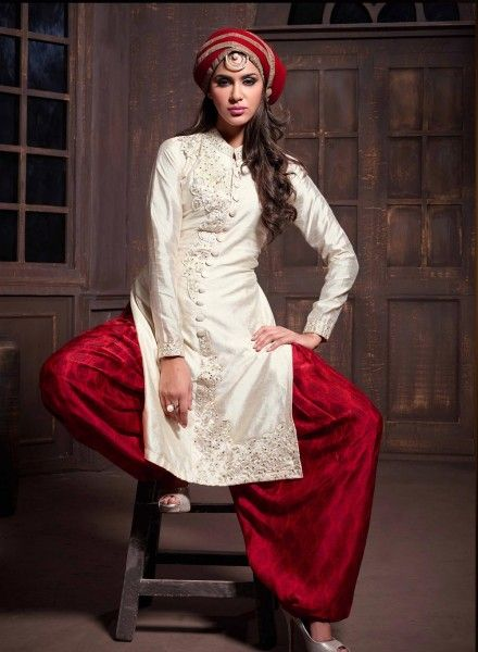 Cream latest punjabi patiala salwar kameez in silk D15348 | Latest