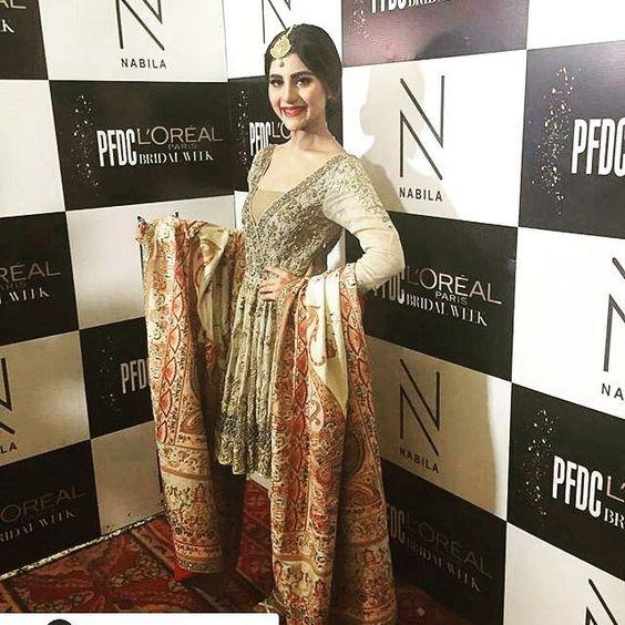 #Repost @publicitemagazine with @repostapp ・・・ #SohaiAliAbro stuns as the #showstopper for #ShamshaHashwani's #AngharkaKurti with hand crafted shawl.  Jewellery: @sherezadjewellery  #PLBW16 #Runway #DAY2 #BridalWeek #NabilaSalon #BeautyMeetsFashion #SherezadJewellery #Backstage #AMughalMirage #LorealParisBridalWeek #AngharkaKurti #PastelHues #lollywood #pakistaniactress #pakistanicelebrities