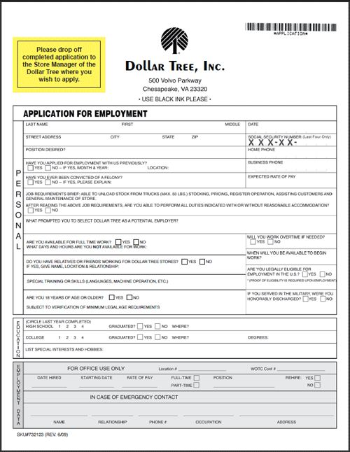 Dollar General Application Print Out Dollar Tree Application - printable employment application