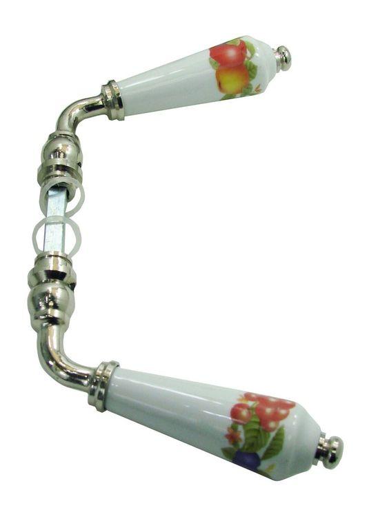 Béquille double CORBEILLE DE FRUITS pour porte intérieure en porcelaine de LIMOGES blanche  sur coud