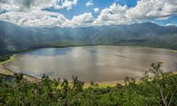 The beautiful Empakaai volcanic caldera is in the NCA (Ngorongoro Conservation Area) in...