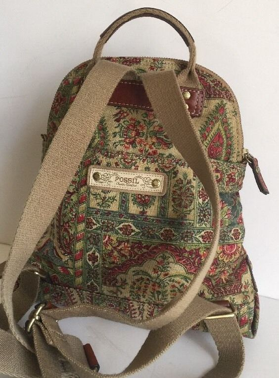 Fossil Multi Color Canvas Floral Backpack Purse Small to Medium ...
