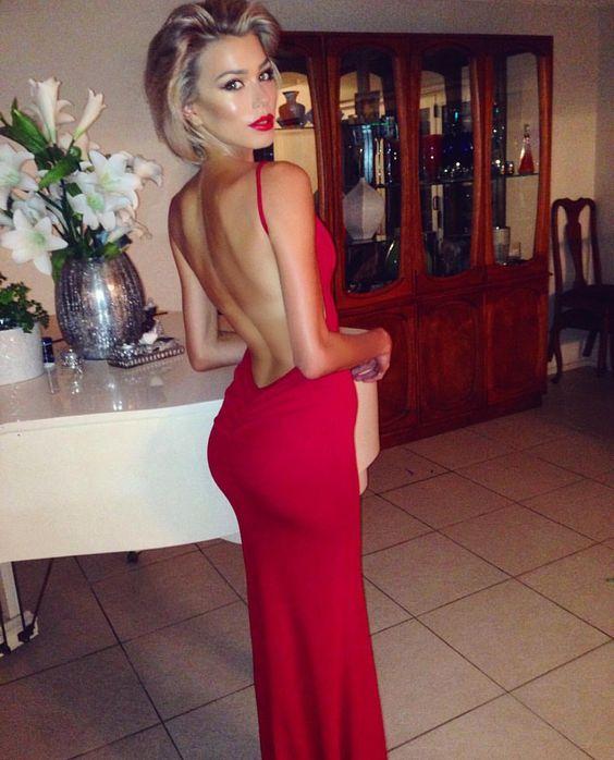 celine backless evening gown in red red dresses. Black Bedroom Furniture Sets. Home Design Ideas