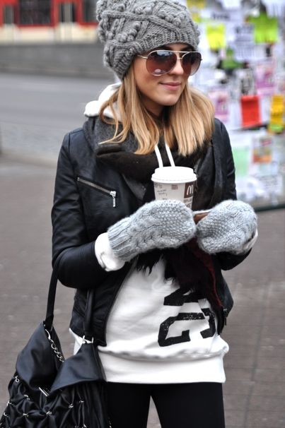 the beanie and mittens || the sweatshirt || the glasses || and of course... the perfect leather jacket...top it all off with a coffee :)