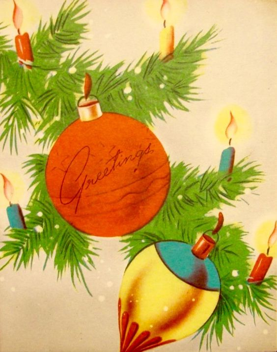 Retro Christmas Card, Vintage Christmas Card, Season's Greetings: