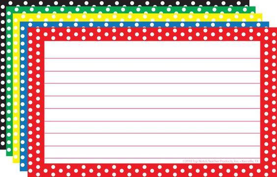 Top Notch Teacher Border Index Cards 3 X 5 Polka Dot Lined Index Cards Border Paper Printable Polka Dot Classroom