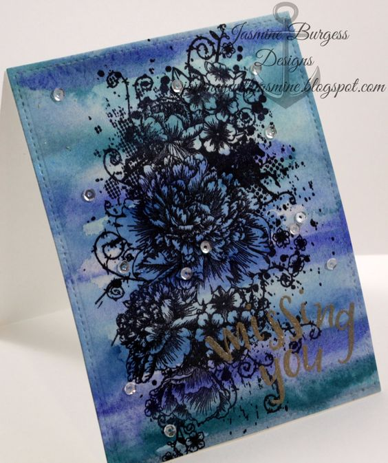 IndigoBlu Peony Posie Daniel Smith Watercolor Concord & 9th Written in the Stars Ranger Liquid Platinum Embossing Powder