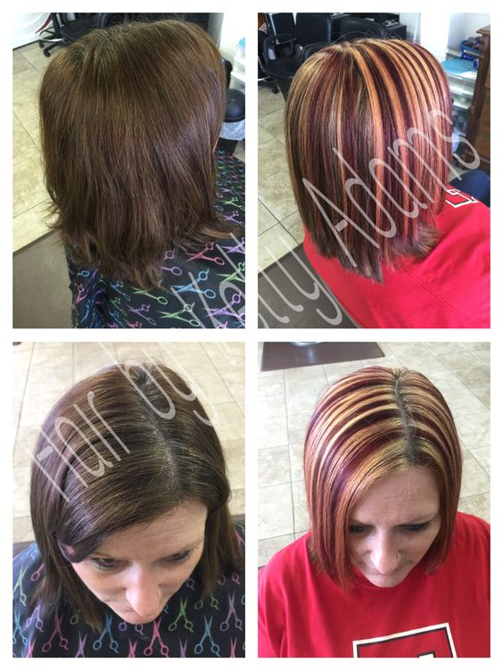 Red and copper blonde chunks by Kelly Adams