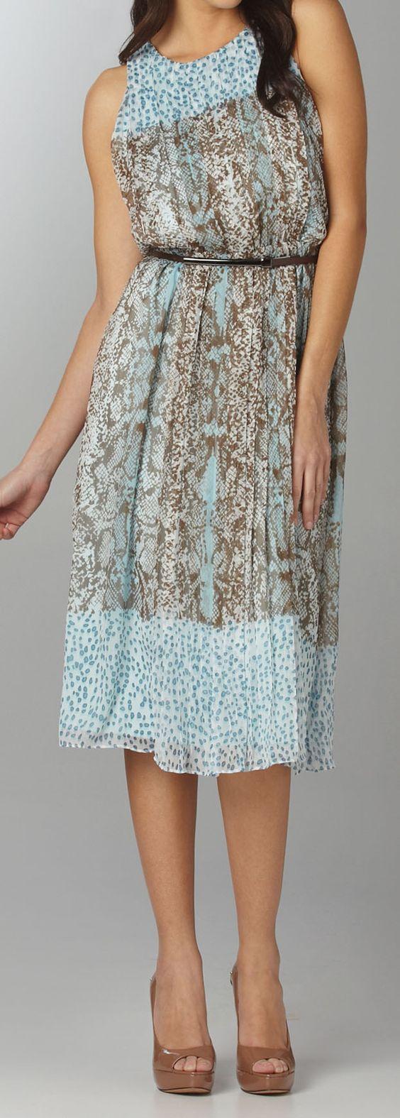 Adorable print dress with an edge - snakeskin!