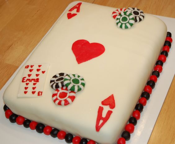 Casino playing card cake