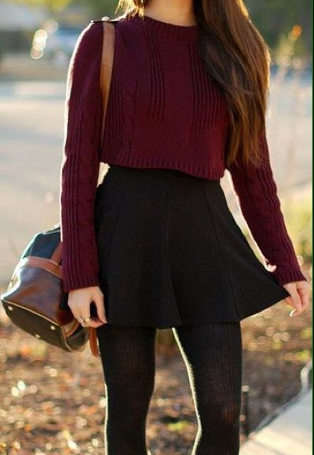 Cropped sweater + skater skirt + sweater tights