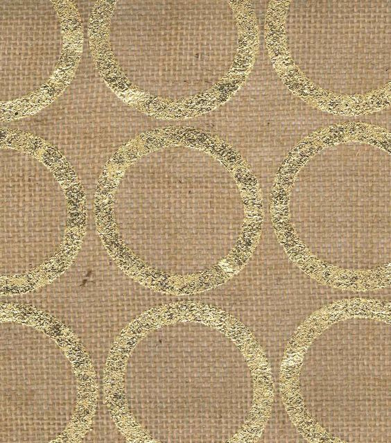 Utility Fabric- Burlap Large. Circle Foil Gold. Another bedroom curtain choice /via Joann Fabrics