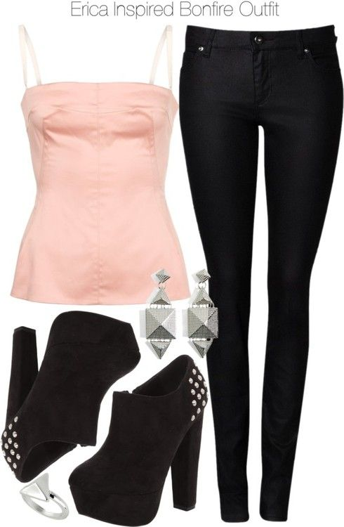 D G top, $155 / Witchery skinny jeans, $120 / Black suede boots / Silver earrings / Topshop ring