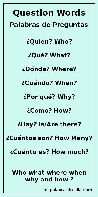 Mi Palabra Del Dia:  Palabras de Preguntas  Question Words Who, what, where, when , why and how?  ¿Quién, Qué, Dónde, Cuándo, Por qué y Cómo?