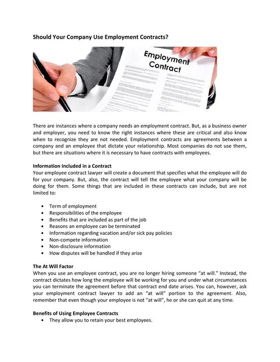 Should Your Company Use Employment Contracts  Newspaper