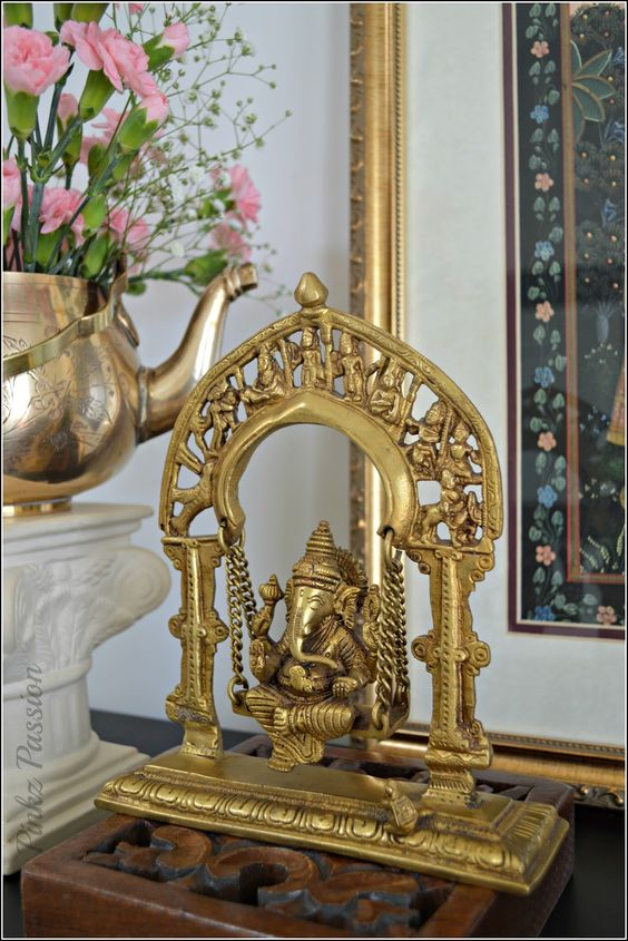 Swing ganesha, spring décor, front foyer, indian décor, brass ...