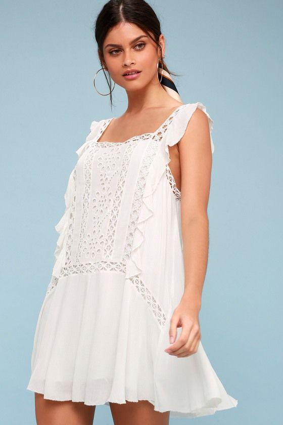 Priscilla White Crochet Mini Dress White Crochet Mini Dress Crochet Trim Dress Crochet Mini Dress