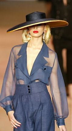 Love the high waist bottoms, sheer top and the large brim hat is like the icing on a cake
