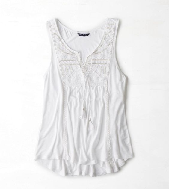 AE Sleeveless Embroidered Peasant Top