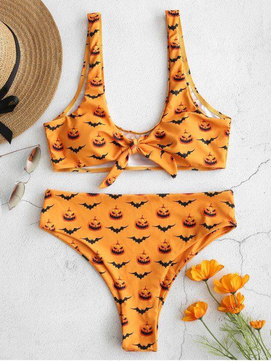 Halloween Printed Knot Front Knot Bikini Set School Bus Yellow