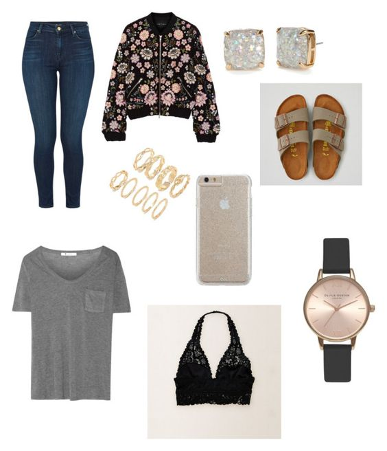 """school"" by ashtonrodriguez on Polyvore featuring T By Alexander Wang, Aerie, J Brand, Needle & Thread, American Eagle Outfitters, Kate Spade, Forever 21, Olivia Burton and Case-Mate"
