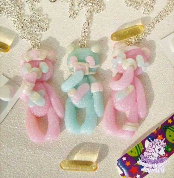 Beary Cute Hospital series necklace fairy kei menhera pastel