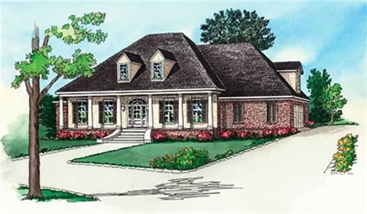 Southern House Plans RG-DS12843 have such a stylish design. The classy hip style roof and large covered front porch show off the Louisiana Plantation Styling. 4 Bedrooms and 3.5 Baths mean that these plans have plenty of room for the whole family. A Raised Ceiling in the Master Bedroom and an 11' Ceiling in the Family Room, Eating Area, Kitchen, Living Room, Foyer & Dining Room give the entire home an even greater sense of space. Walk-In Closets all the Bedrooms is a great addition, and an…