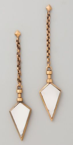 A Peace Treaty - gold + white agate earrings