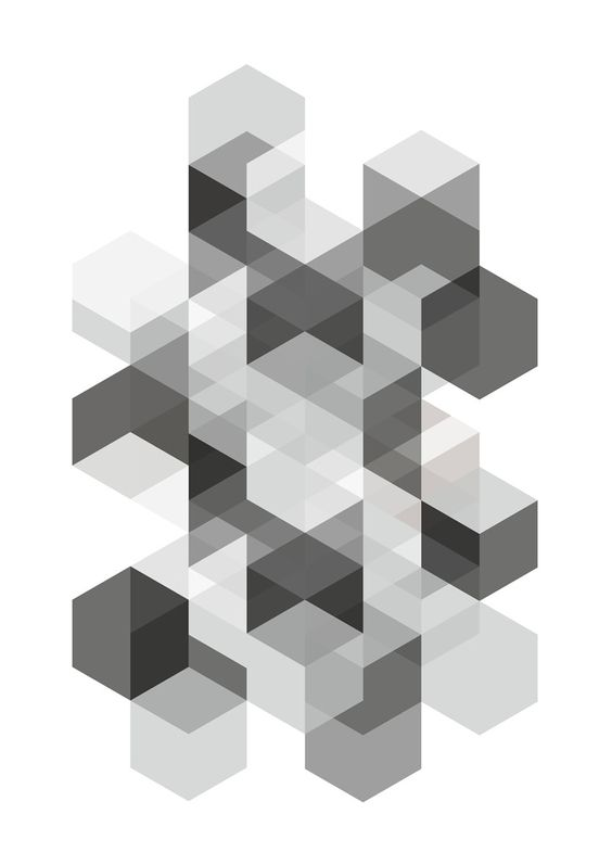 art print a4 poster hexagons black and white �1700