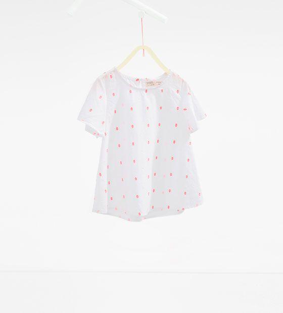 Neon plumetis blouse from Zara