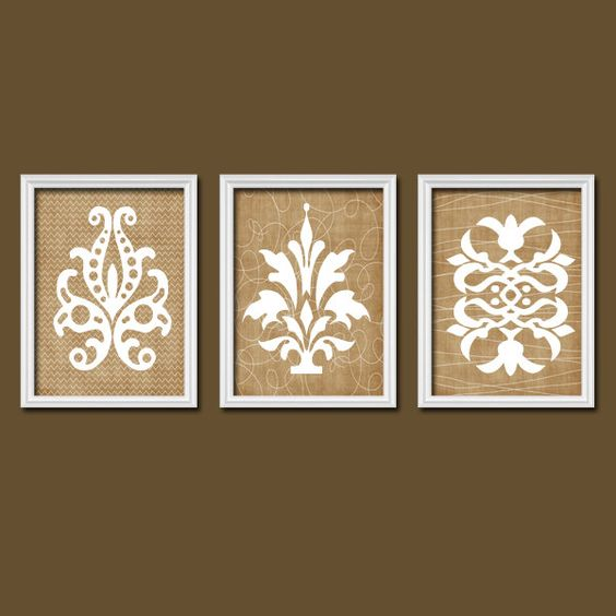 French Country Wall Decor Kitchen : Damask wall art canvas or prints french country artwork