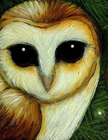 'Holiday Barn Owl Visits Christmas Tree' by Cyra R. Cancel
