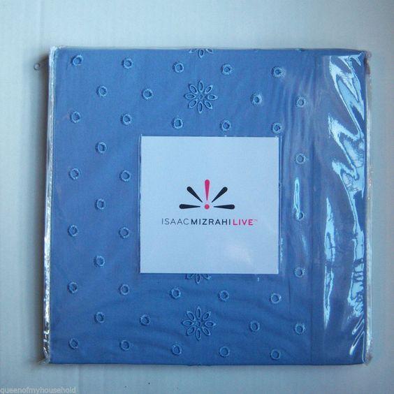 Fabric Shower Curtain Cotton Percale Blue Eyelet Border Isaac Mizrahi Live #IsaacMizrahiLive #Cottage