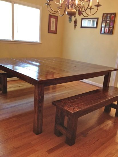 Massive 6 x6 farmhouse table finished tommy ellie for 4x4 dining table